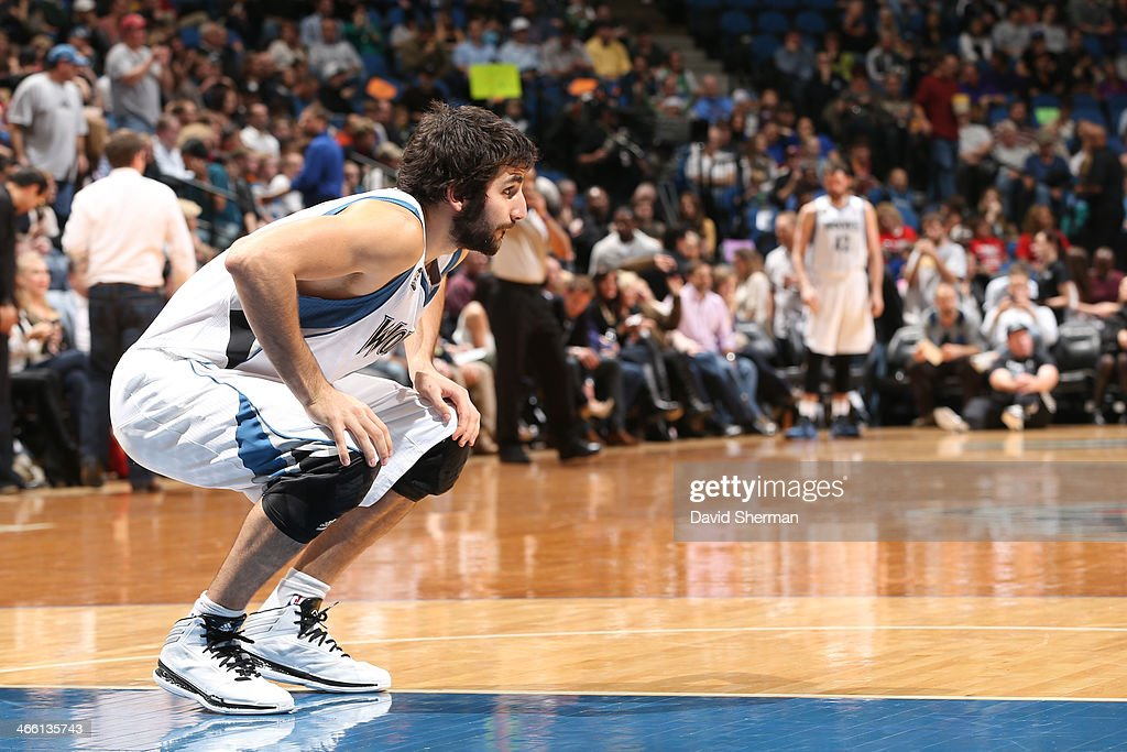 <a gi-track='captionPersonalityLinkClicked' href=/galleries/search?phrase=Ricky+Rubio&family=editorial&specificpeople=4028920 ng-click='$event.stopPropagation()'>Ricky Rubio</a> #9 of the Minnesota Timberwolves stretches against the Boston Celtics on November 16, 2013 at Target Center in Minneapolis, Minnesota.