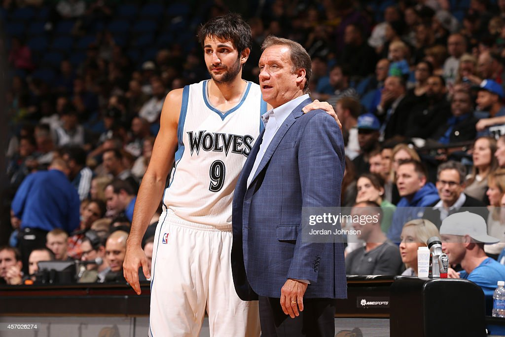 Ricky Rubio of the Minnesota Timberwolves talks to Head Coach Flip Saunders during the game against the Philadelphia 76ers on October 10 2014 at...