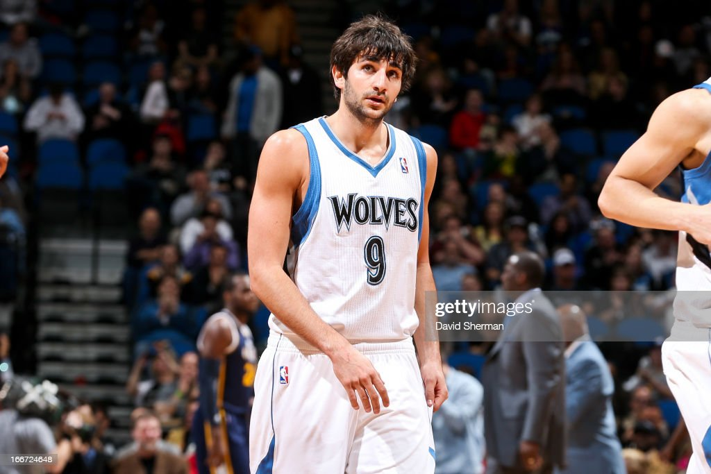 <a gi-track='captionPersonalityLinkClicked' href=/galleries/search?phrase=Ricky+Rubio&family=editorial&specificpeople=4028920 ng-click='$event.stopPropagation()'>Ricky Rubio</a> #9 of the Minnesota Timberwolves walks to the sideline during a game against the Utah Jazz on April 15, 2013 at Target Center in Minneapolis, Minnesota.