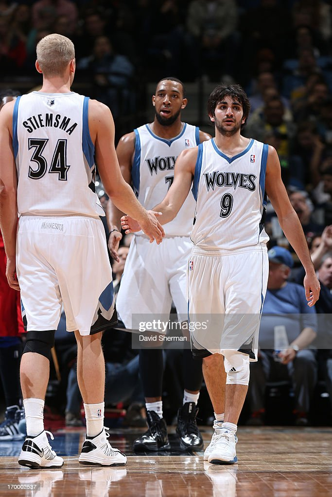 <a gi-track='captionPersonalityLinkClicked' href=/galleries/search?phrase=Ricky+Rubio&family=editorial&specificpeople=4028920 ng-click='$event.stopPropagation()'>Ricky Rubio</a> #9 of the Minnesota Timberwolves walks up the court against the Washington Wizards during the game on March 6, 2013 at Target Center in Minneapolis, Minnesota.