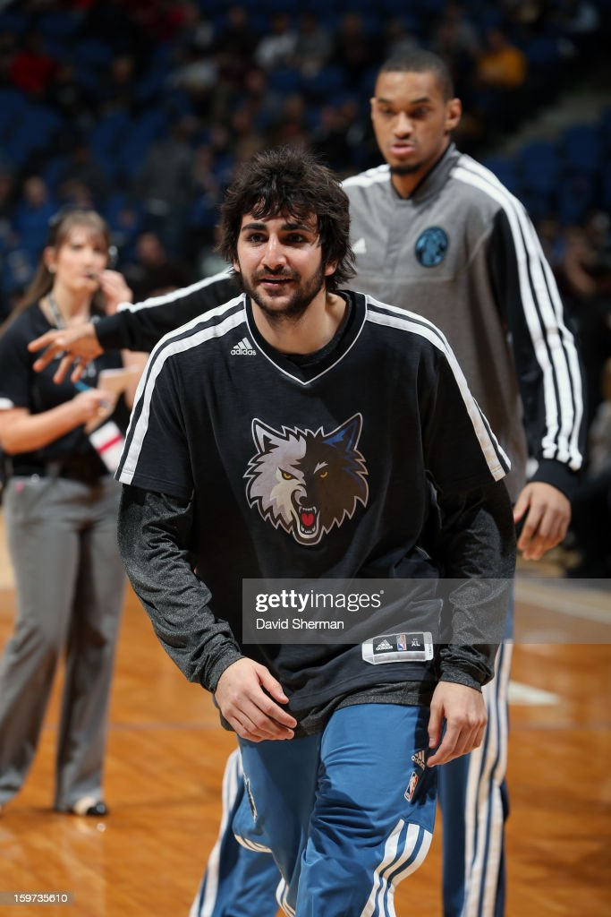 Ricky Rubio #9 of the Minnesota Timberwolves warms up against the Houston Rockets during the game on January 19, 2013 at Target Center in Minneapolis, Minnesota.