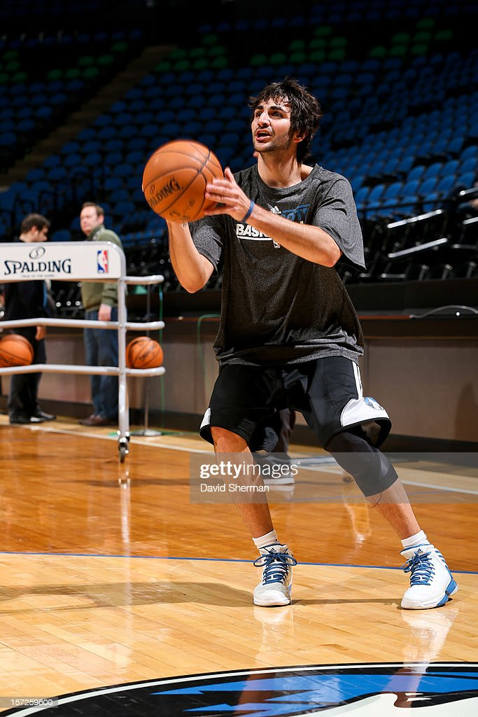 <a gi-track='captionPersonalityLinkClicked' href=/galleries/search?phrase=Ricky+Rubio&family=editorial&specificpeople=4028920 ng-click='$event.stopPropagation()'>Ricky Rubio</a> #9 of the Minnesota Timberwolves warms up before his teammates play against the Milwaukee Bucks on November 30, 2012 at Target Center in Minneapolis, Minnesota.