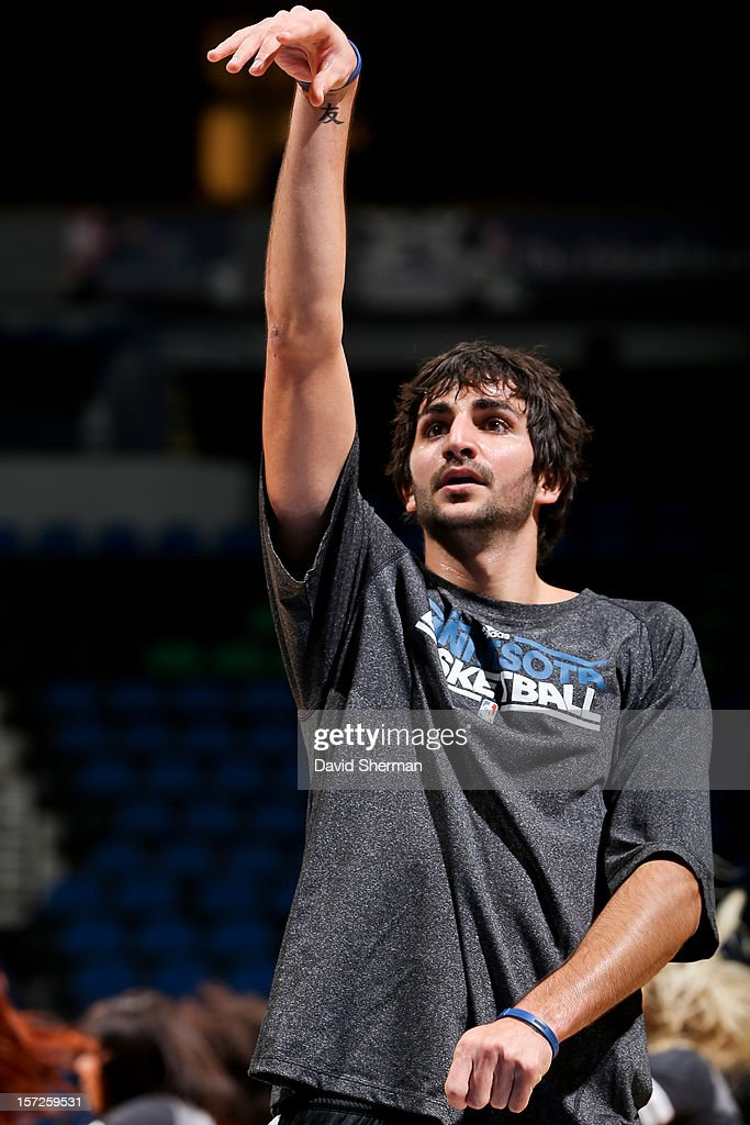 <a gi-track='captionPersonalityLinkClicked' href=/galleries/search?phrase=Ricky+Rubio&family=editorial&specificpeople=4028920 ng-click='$event.stopPropagation()'>Ricky Rubio</a> #9 of the Minnesota Timberwolves warms up before his teammates played against the Milwaukee Bucks on November 30, 2012 at Target Center in Minneapolis, Minnesota.