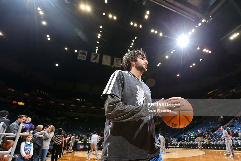 Ricky Rubio #9 of the Minnesota Timberwolves warms up before playing against the San Antonio Spurs on March 12, 2013 at Target Center in Minneapolis, Minnesota.
