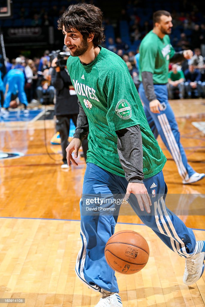 <a gi-track='captionPersonalityLinkClicked' href=/galleries/search?phrase=Ricky+Rubio&family=editorial&specificpeople=4028920 ng-click='$event.stopPropagation()'>Ricky Rubio</a> #9 of the Minnesota Timberwolves warms up before playing against the New Orleans Hornets on March 17, 2013 at Target Center in Minneapolis, Minnesota.