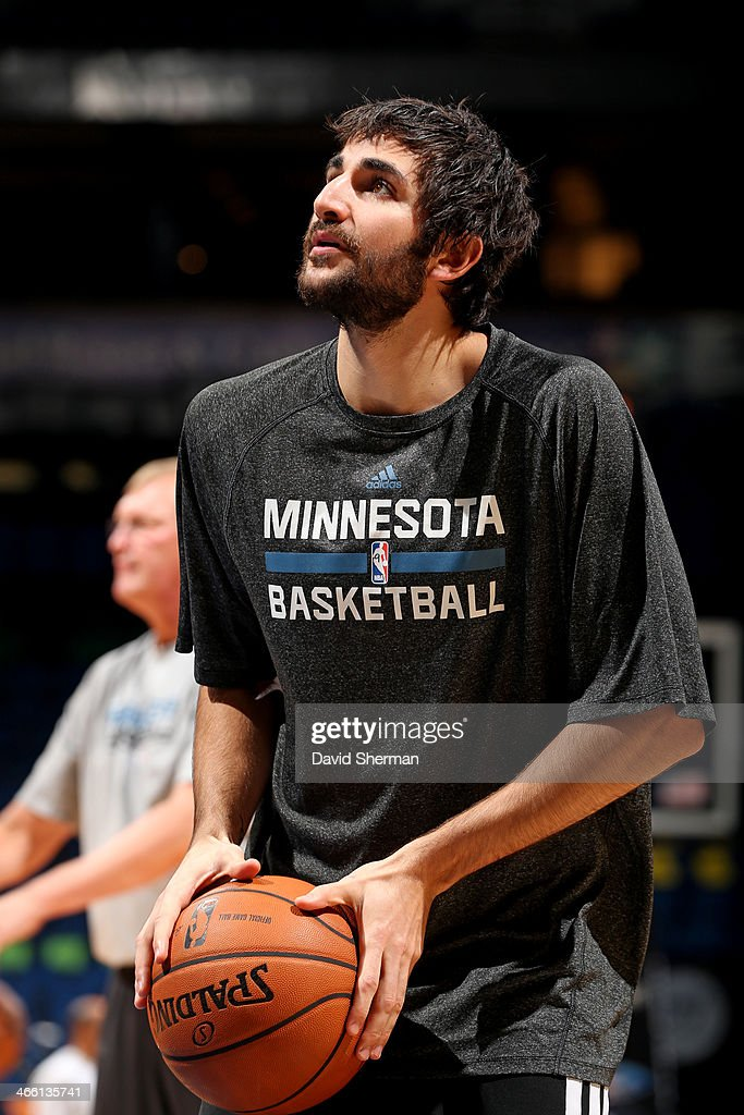 <a gi-track='captionPersonalityLinkClicked' href=/galleries/search?phrase=Ricky+Rubio&family=editorial&specificpeople=4028920 ng-click='$event.stopPropagation()'>Ricky Rubio</a> #9 of the Minnesota Timberwolves warms up before the game against the Boston Celtics on November 16, 2013 at Target Center in Minneapolis, Minnesota.