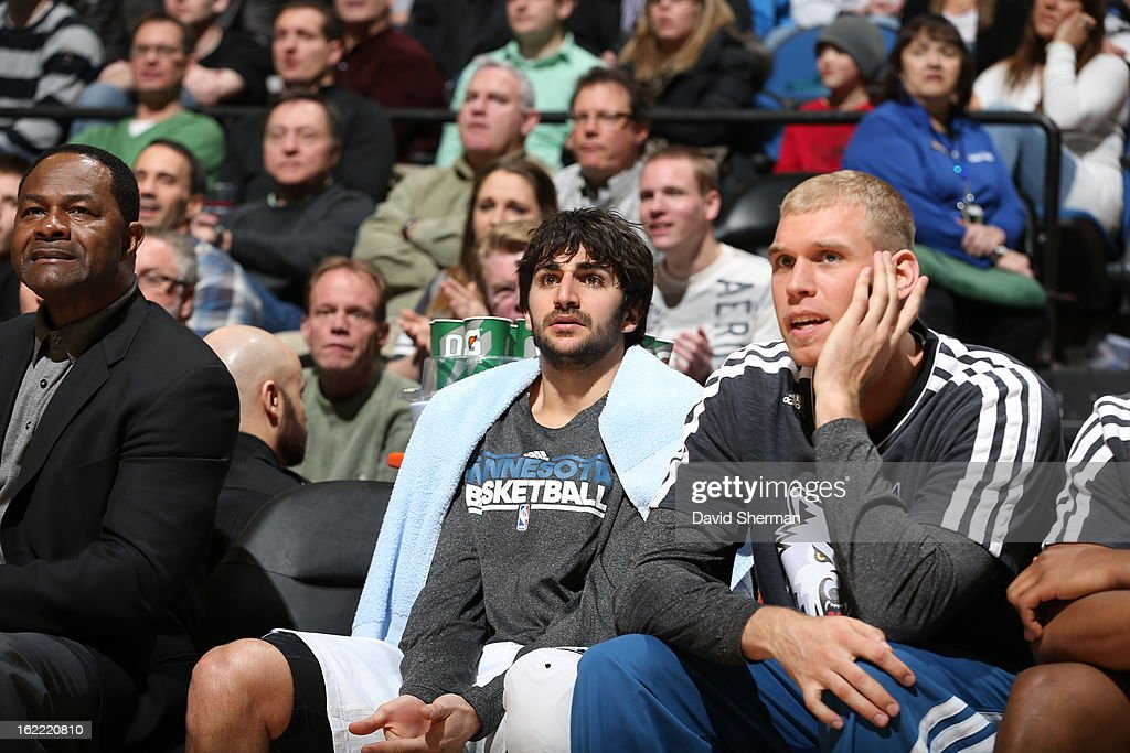 Ricky Rubio #9 of the Minnesota Timberwolves watches from the bench during the game between Philadelphia 76ers and the Minnesota Timberwolves on February 20, 2013 at Target Center in Minneapolis, Minnesota.