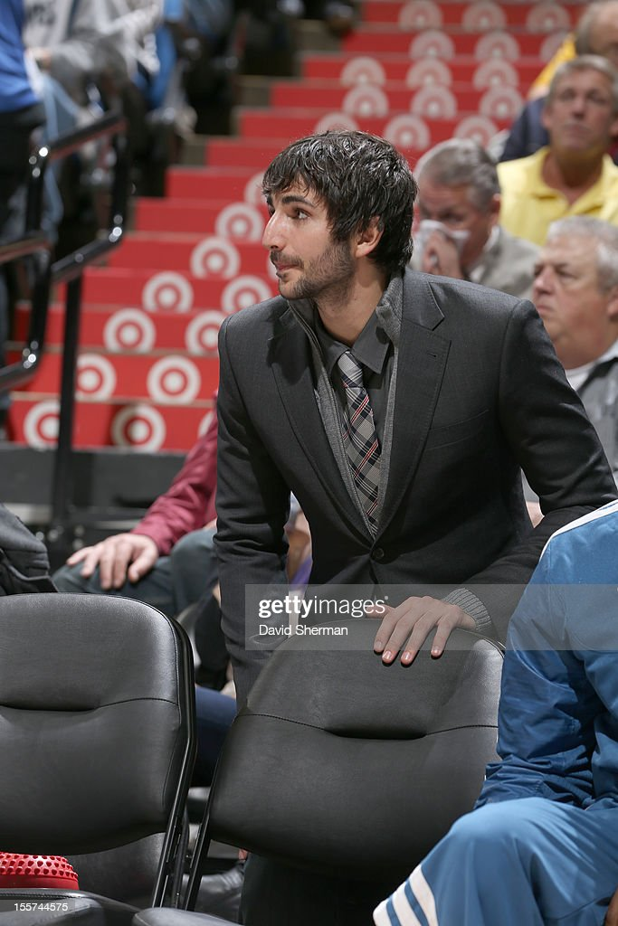 Ricky Rubio #9 of the Minnesota Timberwolves watches the game from the bench during the game between the Minnesota Timberwolves and the Orlando Magic on November 7, 2012 at Target Center in Minneapolis, Minnesota.