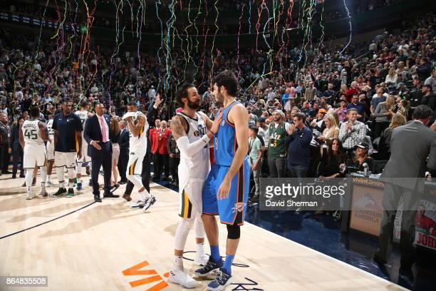Ricky Rubio of the Utah Jazz and Alex Abrines of the Oklahoma City Thunder after the game on October 21 2017 at Vivint Smart Home Arena in Salt Lake...