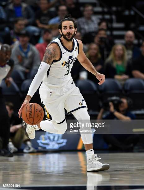 Ricky Rubio of the Utah Jazz brings the ball up court during their game against the Sydney Kings at Vivint Smart Home Arena on October 2 2017 in Salt...