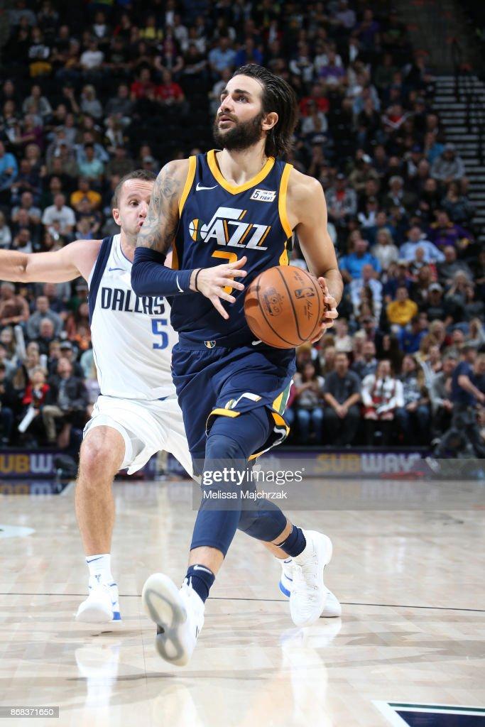 Ricky Rubio #3 of the Utah Jazz drives to the basket against the Dallas Mavericks on October 30, 2017 at Vivint Smart Home Arena in Salt Lake City, Utah.