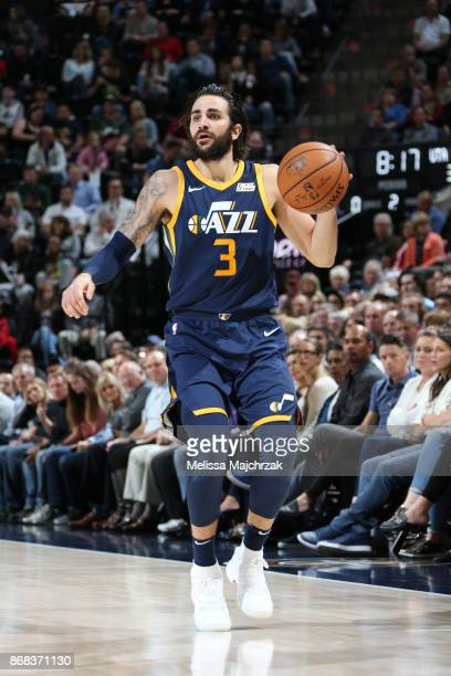 Ricky Rubio of the Utah Jazz handles the ball against the Dallas Mavericks on October 30 2017 at Vivint Smart Home Arena in Salt Lake City Utah NOTE...