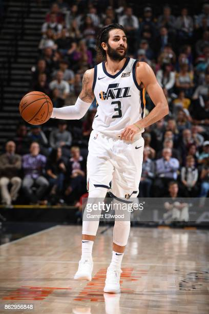 Ricky Rubio of the Utah Jazz handles the ball against the Denver Nuggets during the game on October 18 2017 at vivintSmartHome Arena in Salt Lake...