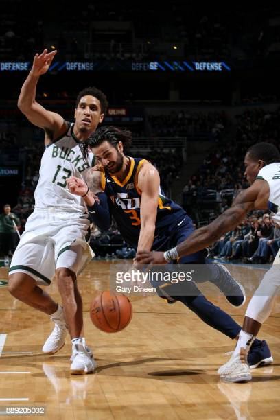Ricky Rubio of the Utah Jazz handles the ball against the Milwaukee Bucks on December 9 2017 at the BMO Harris Bradley Center in Milwaukee Wisconsin...