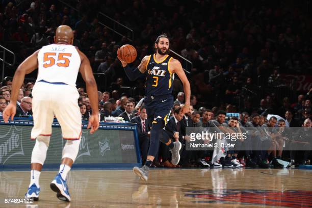 Ricky Rubio of the Utah Jazz handles the ball against the New York Knicks on November 15 2017 at Madison Square Garden in New York City New York NOTE...