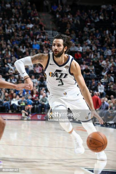 Ricky Rubio of the Utah Jazz handles the ball against the Phoenix Suns on October 6 2017 at vivintSmartHome Arena in Salt Lake City Utah NOTE TO USER...