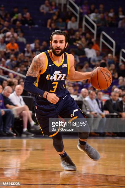 Ricky Rubio of the Utah Jazz handles the ball against the Phoenix Suns on October 25 2017 at Talking Stick Resort Arena in Phoenix Arizona NOTE TO...