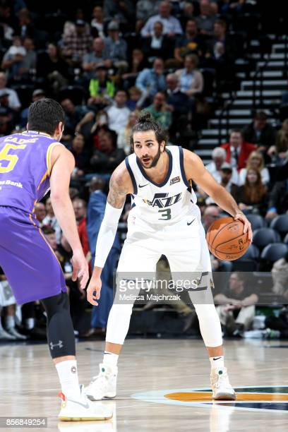 Ricky Rubio of the Utah Jazz handles the ball against the Sydney Kings during a preseason game on October 2 2017 at vivintSmartHome Arena in Salt...