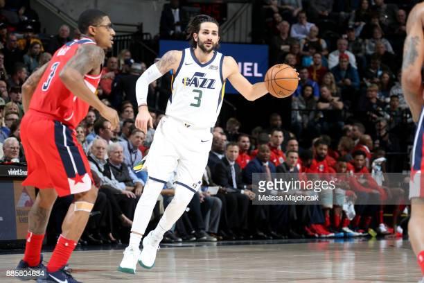 Ricky Rubio of the Utah Jazz handles the ball against the Washington Wizards on December 4 2017 at Vivint Smart Home Arena in Salt Lake City Utah...