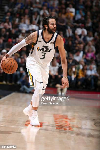 Ricky Rubio of the Utah Jazz handles the ball during a against the Oklahoma City Thunder game on October 21 2017 at Vivint Smart Home Arena in Salt...