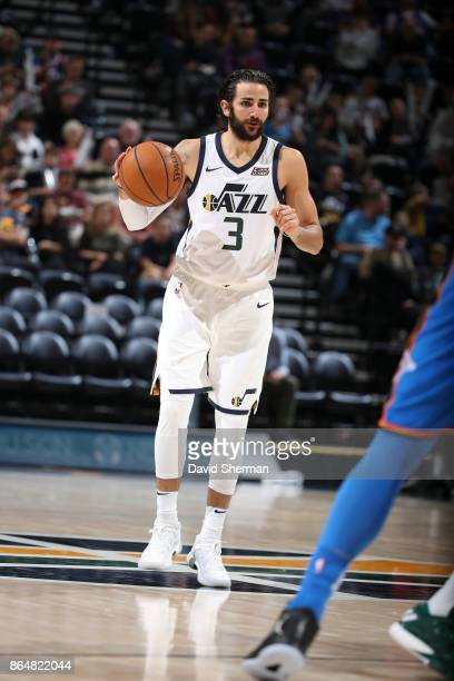 Ricky Rubio of the Utah Jazz handles the ball during a game against the Oklahoma City Thunder on October 21 2017 at Vivint Smart Home Arena in Salt...