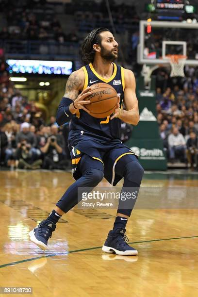 Ricky Rubio of the Utah Jazz handles the ball during a game against the Milwaukee Bucks at the Bradley Center on December 9 2017 in Milwaukee...