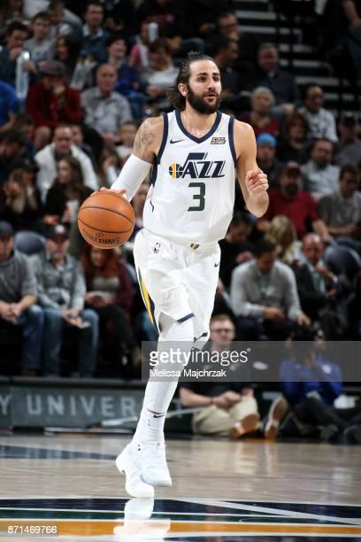 Ricky Rubio of the Utah Jazz handles the ball during the game against the Philadelphia 76ers on November 7 2017 at VivintSmartHome Arena in Salt Lake...