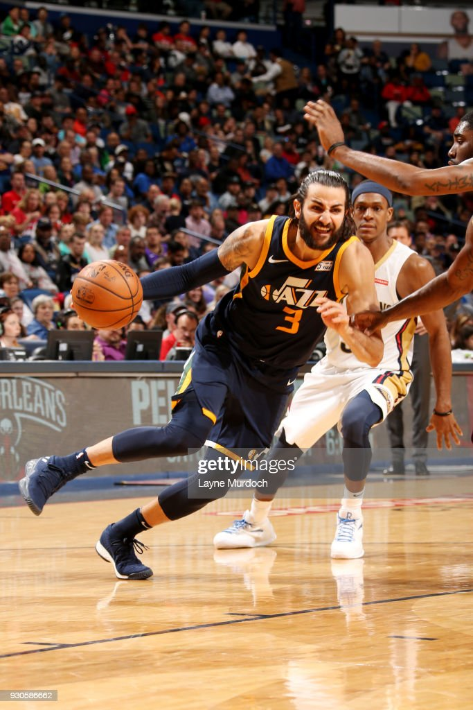 Ricky Rubio #3 of the Utah Jazz handles the ball during the game against the New Orleans Pelicans on March 11, 2018 at the Smoothie King Center in New Orleans, Louisiana.