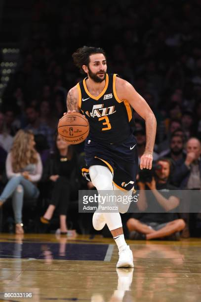 Ricky Rubio of the Utah Jazz handles the ball during the preseason game against the Los Angeles Lakers on October 10 2017 at STAPLES Center in Los...