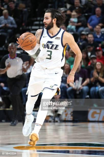 Ricky Rubio of the Utah Jazz moves the ball down court against the Minnesota Timberwolves on Novemeber 13 2017 at Vivint Smart Home Arena in Salt...