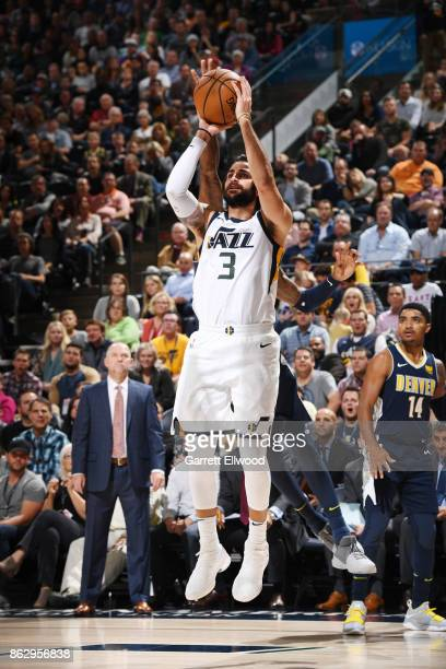 Ricky Rubio of the Utah Jazz shoots the ball against the Denver Nuggets during the game on October 18 2017 at vivintSmartHome Arena in Salt Lake City...