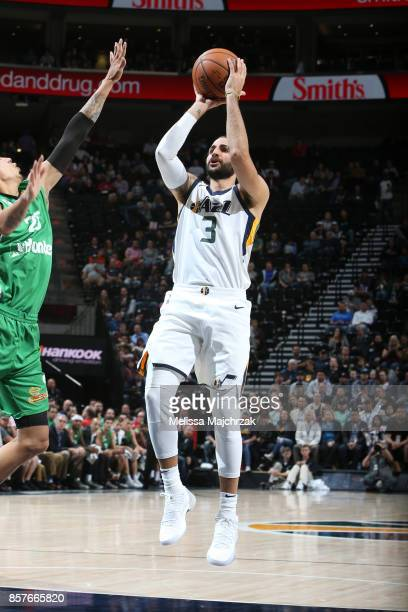 Ricky Rubio of the Utah Jazz shoots the ball against the Maccabi Haifa during a preseason game on October 4 2017 at vivintSmartHome Arena in Salt...
