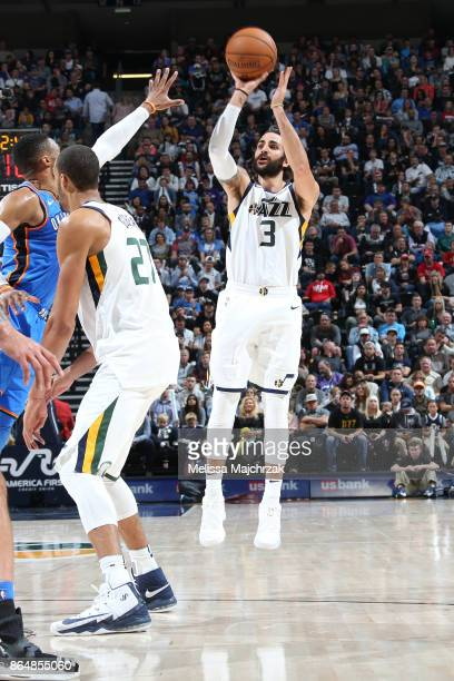 Ricky Rubio of the Utah Jazz shoots the ball against the Oklahoma City Thunder during the game on October 21 2017 at vivintSmartHome Arena in Salt...