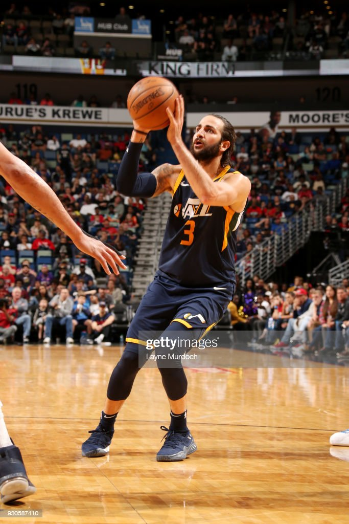 Ricky Rubio #3 of the Utah Jazz shoots the ball during the game against the New Orleans Pelicans on March 11, 2018 at the Smoothie King Center in New Orleans, Louisiana.