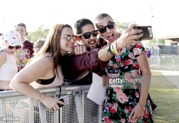Ricky Smash of Playboy Manbaby takes a selfie with fans at Piestewa Stage during day 1 of the 2017 Lost Lake Festival on October 20 2017 in Phoenix...