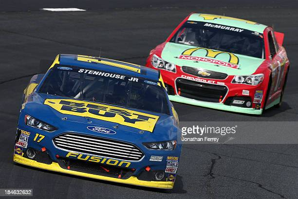 Ricky Stenhouse Jr driver of the Best Buy Ford and Jamie McMurray driver of the McDonald's/Monopoly Chevrolet during the NASCAR Sprint Cup Series...
