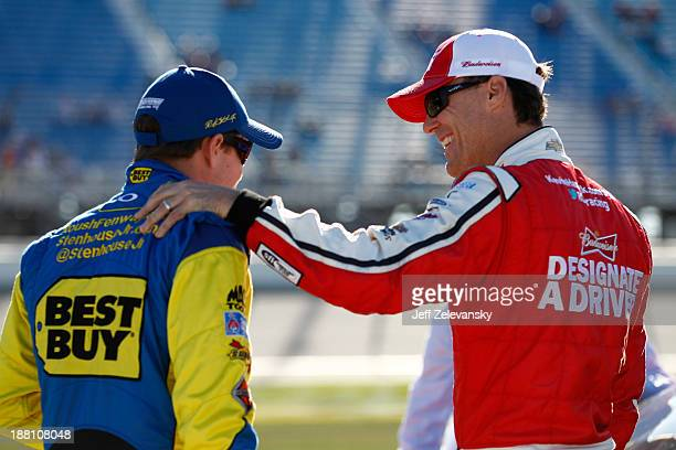 Ricky Stenhouse Jr driver of the Best Buy Ford and Kevin Harvick driver of the Budweiser Chevrolet during qualifying for the NASCAR Sprint Cup Series...