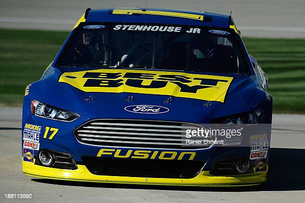 Ricky Stenhouse Jr driver of the Best Buy Ford during practice for the NASCAR Sprint Cup Series Geico 400 at Chicagoland Speedway on September 14...