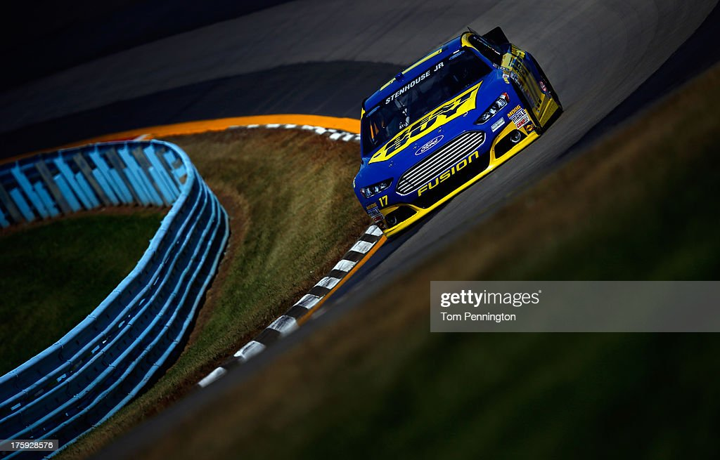 <a gi-track='captionPersonalityLinkClicked' href=/galleries/search?phrase=Ricky+Stenhouse+Jr.&family=editorial&specificpeople=5380612 ng-click='$event.stopPropagation()'>Ricky Stenhouse Jr.</a>, driver of the #17 Best Buy Ford, during qualifying for the NASCAR Sprint Cup Series Cheez-It 355 at The Glen at Watkins Glen International on August 10, 2013 in Watkins Glen, New York.