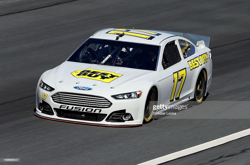 Ricky Stenhouse Jr., driver of the #17 Best Buy, in action during NASCAR Testing at Charlotte Motor Speedway on January 18, 2013 in Charlotte, North Carolina.