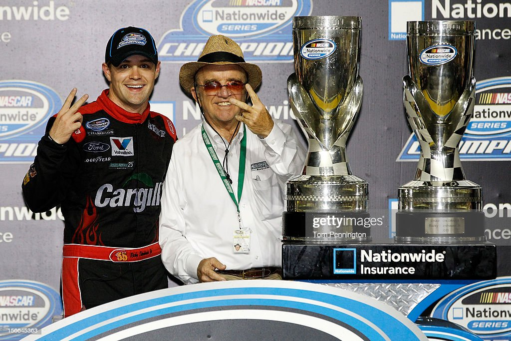 <a gi-track='captionPersonalityLinkClicked' href=/galleries/search?phrase=Ricky+Stenhouse+Jr.&family=editorial&specificpeople=5380612 ng-click='$event.stopPropagation()'>Ricky Stenhouse Jr.</a>, driver of the #6 Cargill Ford, and team owner <a gi-track='captionPersonalityLinkClicked' href=/galleries/search?phrase=Jack+Roush&family=editorial&specificpeople=260209 ng-click='$event.stopPropagation()'>Jack Roush</a> celebrate after winning back-to-back Nationwide series championships after the NASCAR Nationwide Series Ford EcoBoost 300 at Homestead-Miami Speedway on November 17, 2012 in Homestead, Florida.