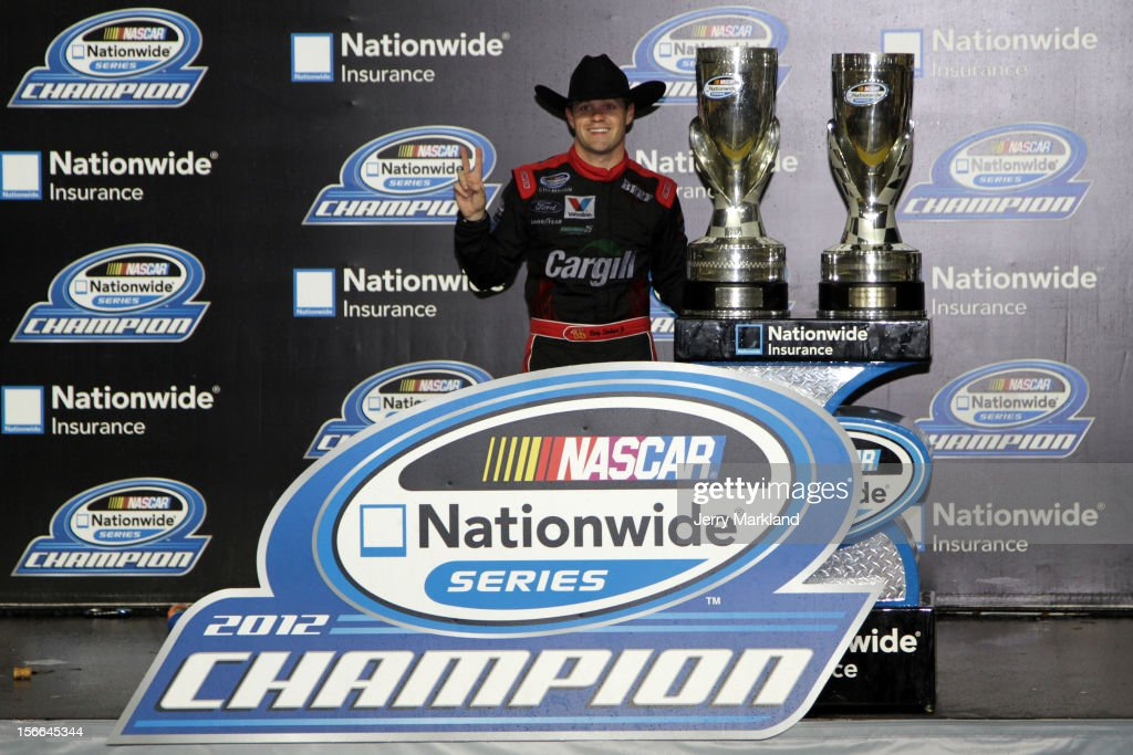 <a gi-track='captionPersonalityLinkClicked' href=/galleries/search?phrase=Ricky+Stenhouse+Jr.&family=editorial&specificpeople=5380612 ng-click='$event.stopPropagation()'>Ricky Stenhouse Jr.</a>, driver of the #6 Cargill Ford, celebrates after winning back-to-back Nationwide series championships after the NASCAR Nationwide Series Ford EcoBoost 300 at Homestead-Miami Speedway on November 17, 2012 in Homestead, Florida.