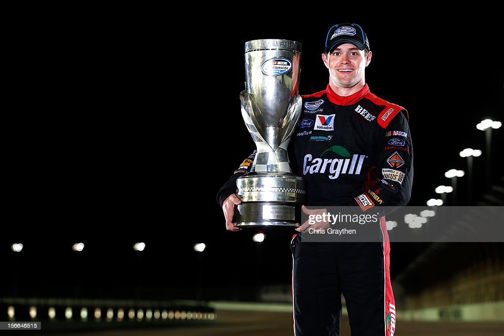 <a gi-track='captionPersonalityLinkClicked' href=/galleries/search?phrase=Ricky+Stenhouse+Jr.&family=editorial&specificpeople=5380612 ng-click='$event.stopPropagation()'>Ricky Stenhouse Jr.</a>, driver of the #6 Cargill Ford, poses on the track after winning back-to-back Nationwide series championships after competing in the NASCAR Nationwide Series Ford EcoBoost 300 at Homestead-Miami Speedway on November 17, 2012 in Homestead, Florida.