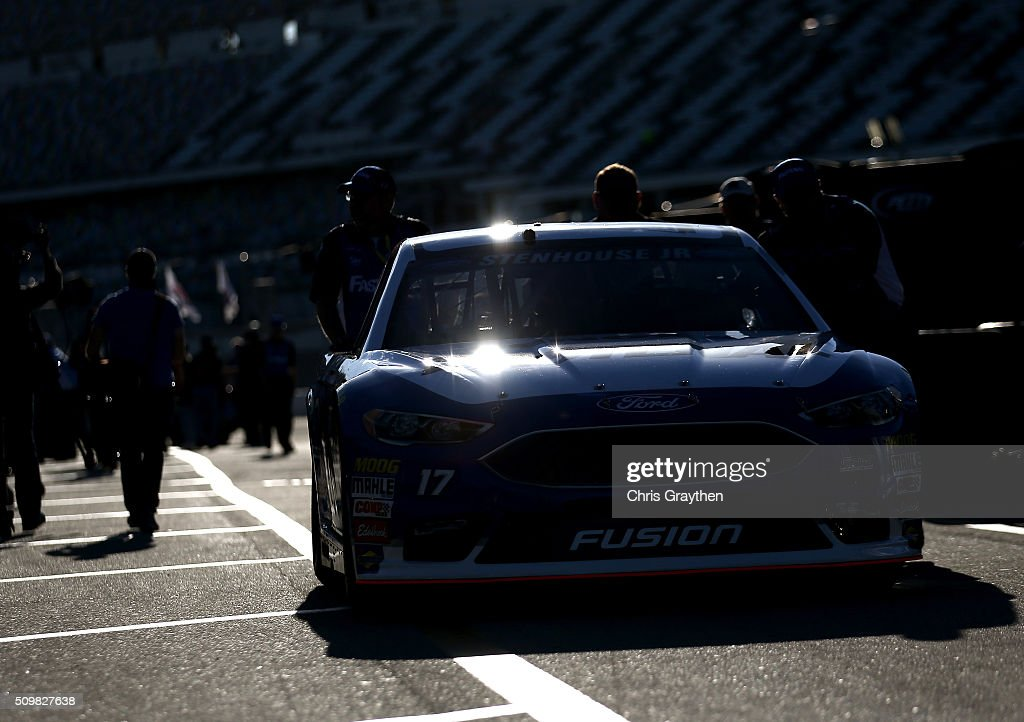 Ricky Stenhouse Jr., driver of the #17 Fastenal Ford, drives through the garage area during practice for the NASCAR Sprint Cup Series Sprint Unlimited at Daytona International Speedway on February 12, 2016 in Daytona Beach, Florida.