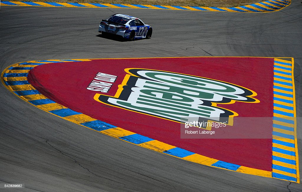 Ricky Stenhouse Jr, driver of the #17 Fastenal Ford, practices for the NASCAR Sprint Cup Series Toyota/Save Mart 350 at Sonoma Raceway on June 24, 2016 in Sonoma, California.