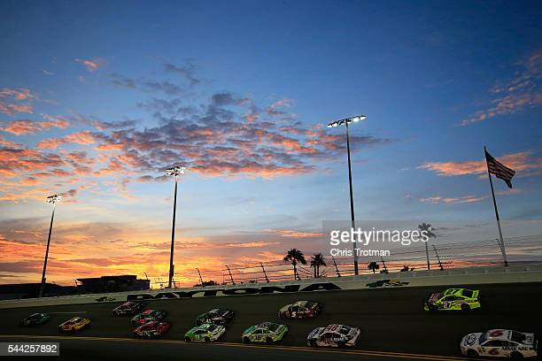 Ricky Stenhouse Jr driver of the Fifth Third Bank Ford leads a pack of cars during the NASCAR Sprint Cup Series Coke Zero 400 Powered By CocaCola at...