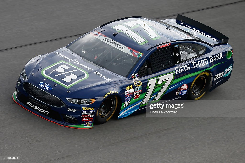 <a gi-track='captionPersonalityLinkClicked' href=/galleries/search?phrase=Ricky+Stenhouse+Jr.&family=editorial&specificpeople=5380612 ng-click='$event.stopPropagation()'>Ricky Stenhouse Jr.</a>, driver of the #17 Fifth Third Bank Ford, practices for the NASCAR Sprint Cup Series Coke Zero 400 at Daytona International Speedway on June 30, 2016 in Daytona Beach, Florida.