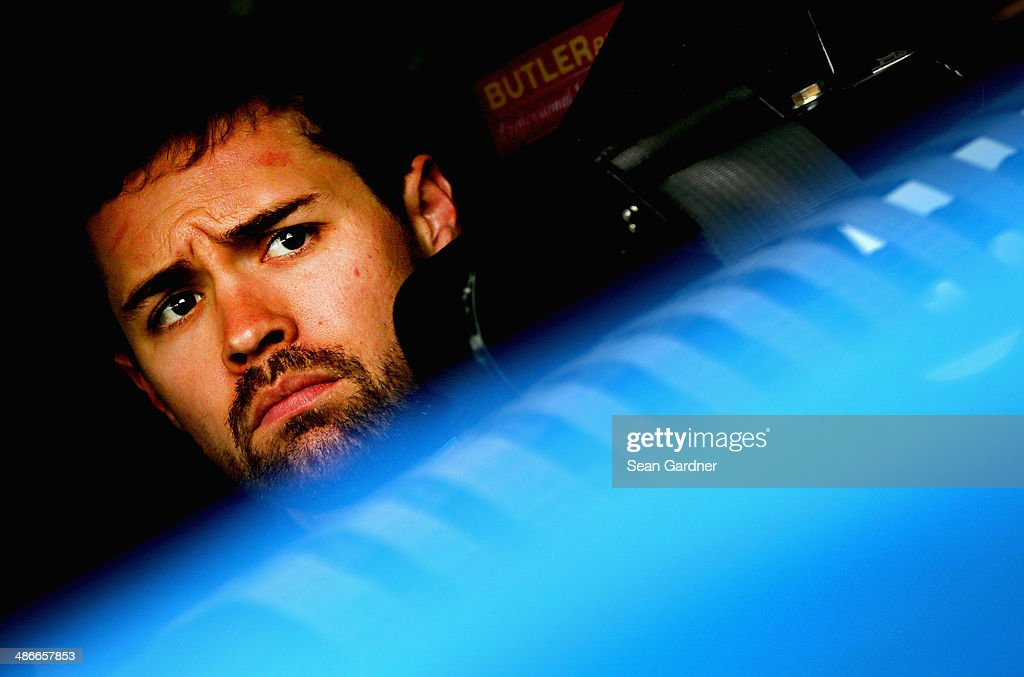 <a gi-track='captionPersonalityLinkClicked' href=/galleries/search?phrase=Ricky+Stenhouse+Jr.&family=editorial&specificpeople=5380612 ng-click='$event.stopPropagation()'>Ricky Stenhouse Jr.</a>, driver of the #17 FrdNationwide Ford, sits in his car during practice for the NASCAR Sprint Cup Series Toyota Owners 400 at Richmond International Raceway on April 25, 2014 in Richmond, Virginia.