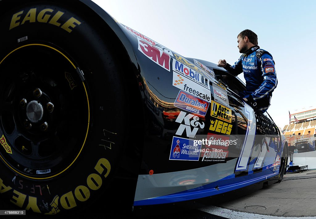 Ricky Stenhouse Jr., driver of the #17 Nationwide Insurance Ford, climbs in his car during practice for the NASCAR Sprint Cup Series Food City 500 at Bristol Motor Speedway on March 15, 2014 in Bristol, Tennessee.