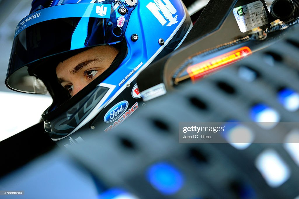 Ricky Stenhouse Jr., driver of the #17 Nationwide Insurance Ford, sits in his car during practice for the NASCAR Sprint Cup Series Food City 500 at Bristol Motor Speedway on March 15, 2014 in Bristol, Tennessee.
